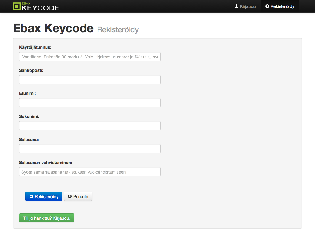 Keycode registration